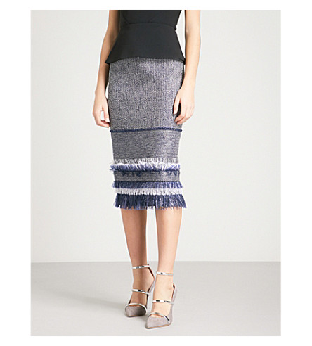 ROLAND MOURET Honeywell high-rise fitted woven skirt (Navy+multi/blk
