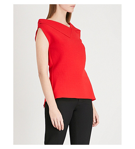 ROLAND MOURET Raywell wool-crepe top (Poppy+red