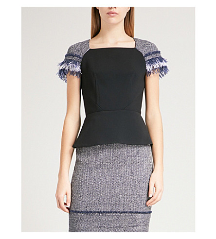 ROLAND MOURET Leyburn woven and crepe top (Blk/navy+multi