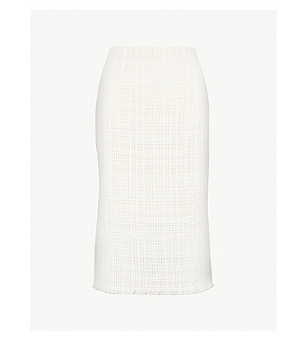 ROLAND MOURET Ryehill open-weave cotton skirt (White