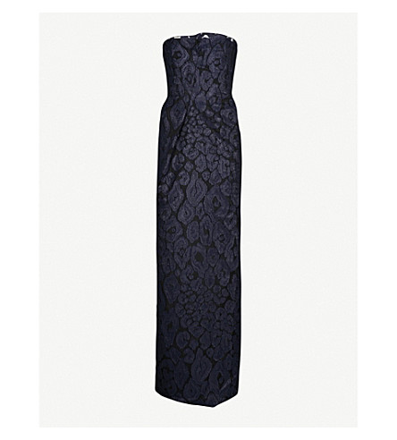 ROLAND MOURET Henderson strapless fil-coupé column gown (Navy