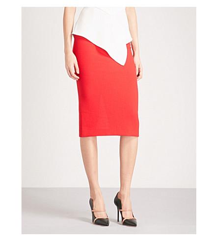 ROLAND MOURET Arreton 羊毛绉铅笔裙 (罂粟 + 红