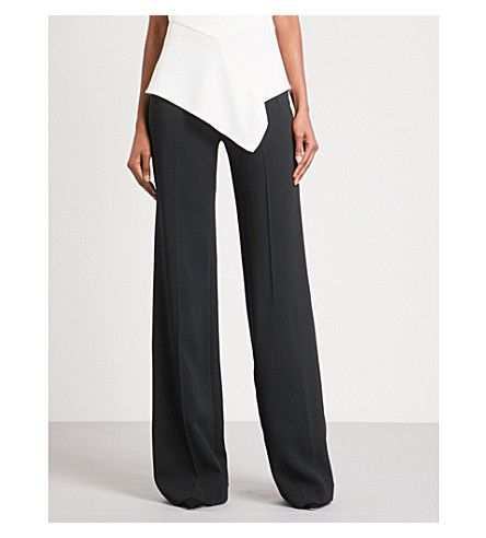 ROLAND MOURET Axon flared high-rise crepe trousers (Blk