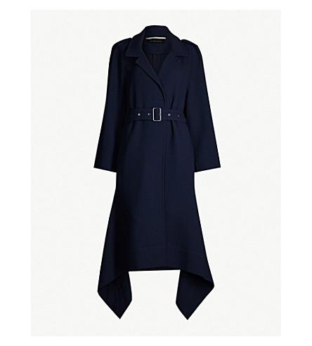 ROLAND MOURET Victor asymmetric wool coat (Navy