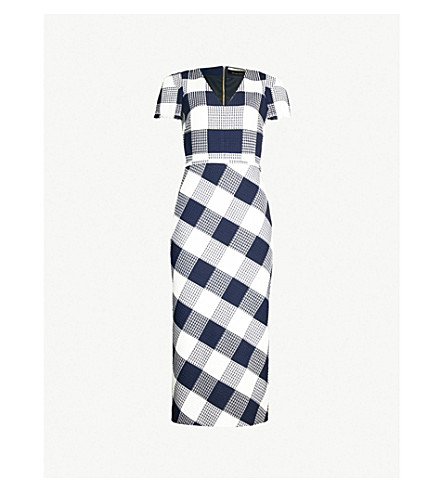ROLAND MOURET Chaney checked crepe dress (Navy white