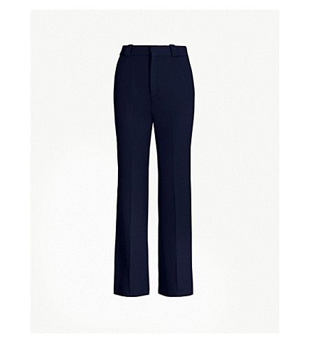 ROLAND MOURET Dilman flared high-rise crepe cropped pants (Navy