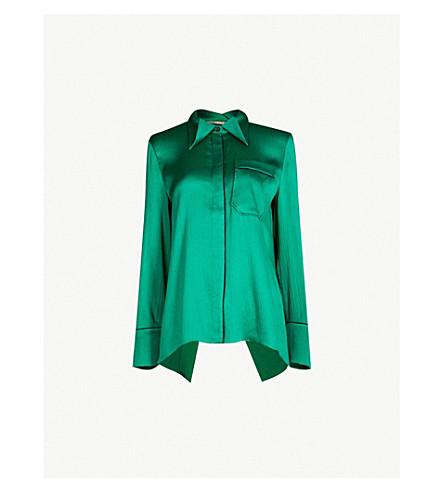 ROLAND MOURET Algar cutout back stretch-silk shirt (Emerald/blk