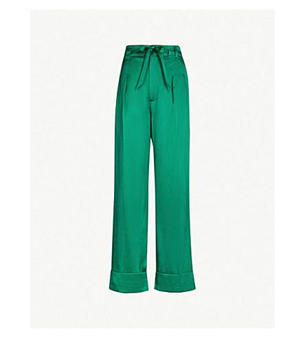 ROLAND MOURET Perkins wide-leg high-rise stretch-silk pants (Emerald