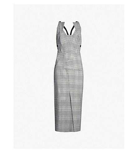 ROLAND MOURET Primrose checked wool-blend dress (Monochrome