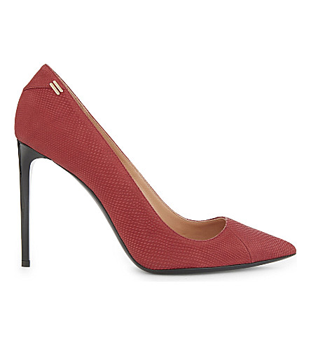 ROLAND MOURET Hero II snakeskin-embossed leather pumps (Claret