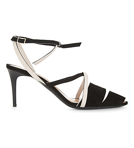 ROLAND MOURET Suede strap sandals (Black/blush