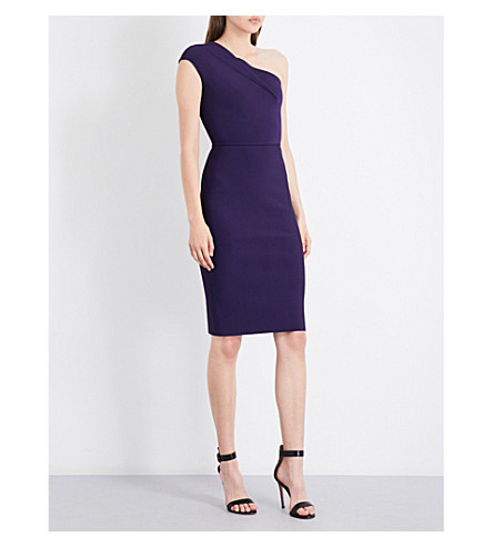 ROLAND MOURET One-shouldered knitted dress (Dark+violet