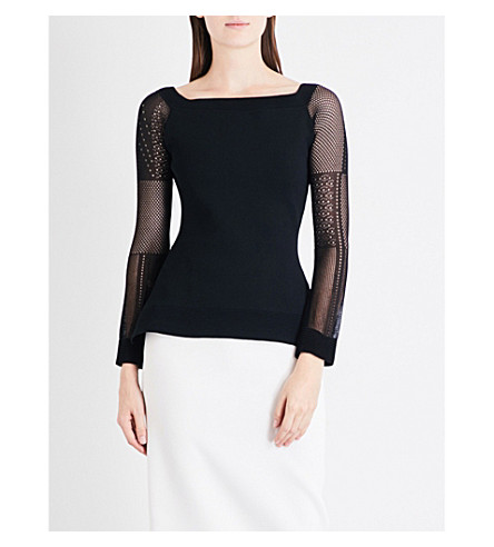 ROLAND MOURET Leafield off-the-shoulder knitted top (Black