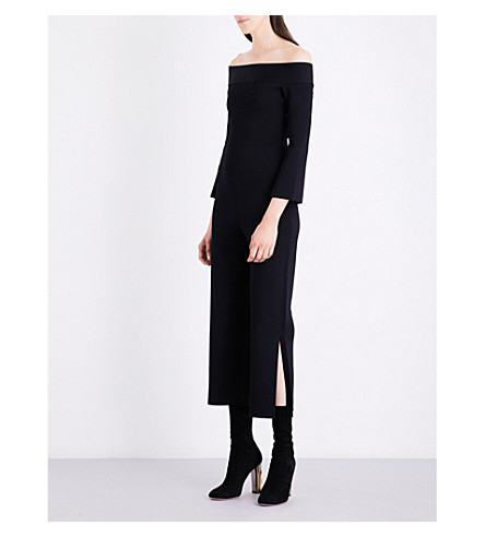 ROLAND MOURET Felbridge off-the-shoulder knitted jumpsuit (Black