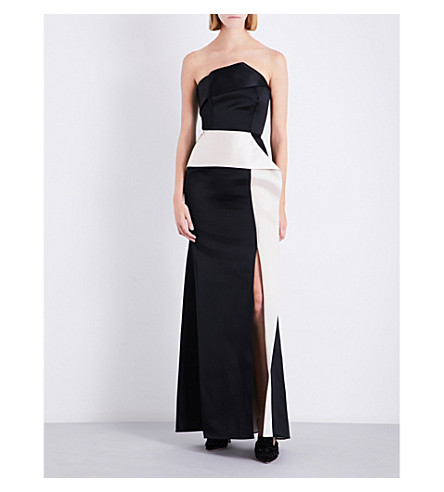 ROLAND MOURET Addover satin gown (Black/blush
