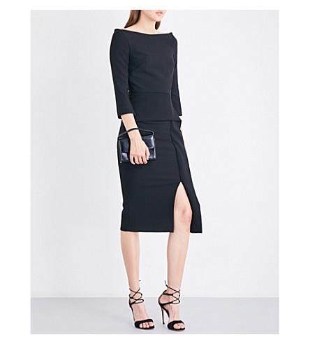 ROLAND MOURET Ardingly boat-neck crepe dress (Black