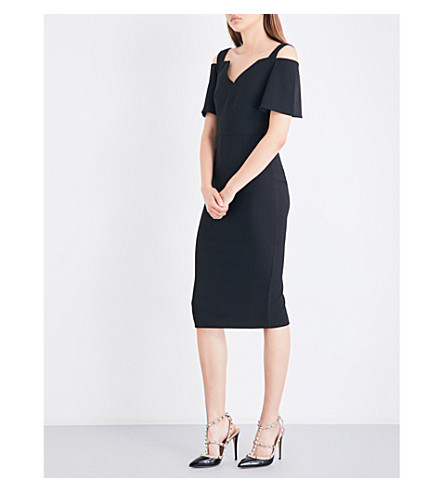 ROLAND MOURET Awalton crepe dress (Black