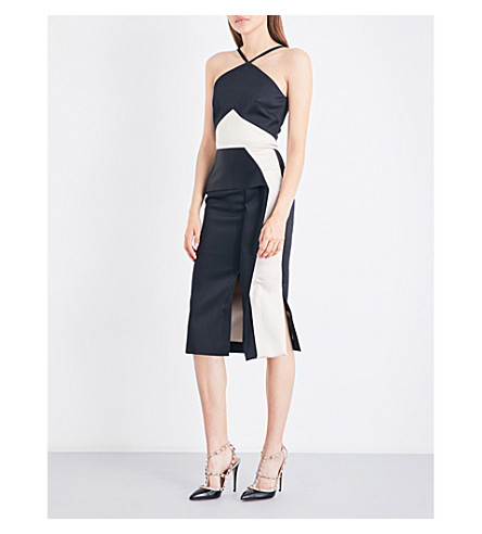 ROLAND MOURET Bartlow two-tone satin dress (Black/blush