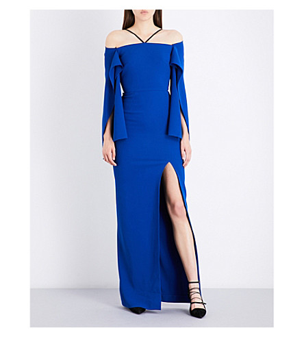 ROLAND MOURET Off-the-shoulder crepe dress (Royal+blue