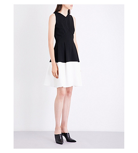 ROLAND MOURET Ellesfield V-neck crepe dress (Black/white
