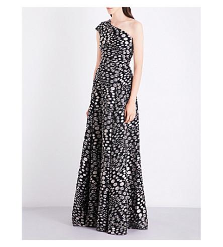 ROLAND MOURET Hampstead asymmetric fil-coupé gown (Dove+grey/black