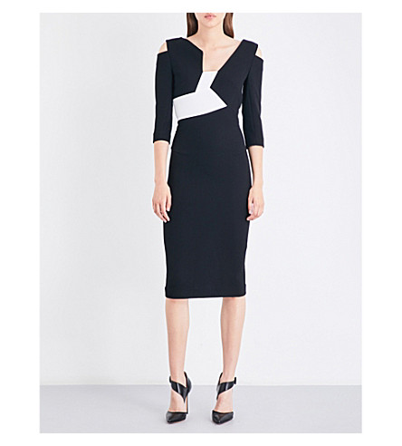 ROLAND MOURET Kiverton wool-crepe dress (Black/white