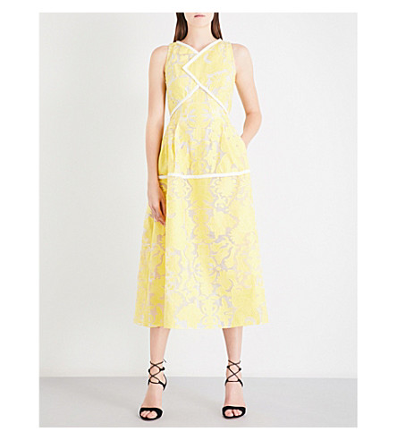 ROLAND MOURET Letwell brocade dress (Canary+yellow/white
