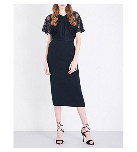 ROLAND MOURET Marrick lace and woven dress (Black