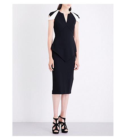 ROLAND MOURET Otterden V-neck crepe dress (Black/white