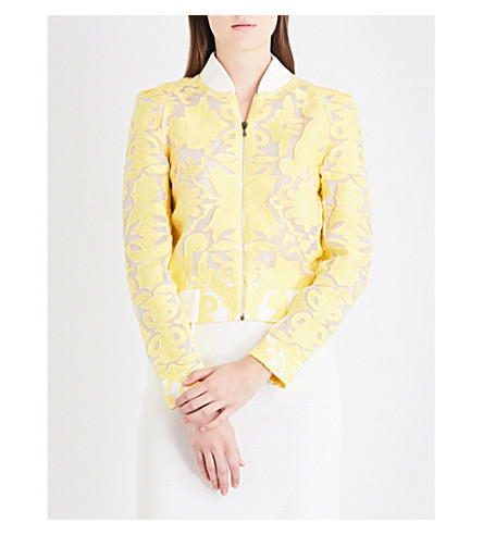 ROLAND MOURET Rushenden brocade bomber jacket (Canary+yellow/white
