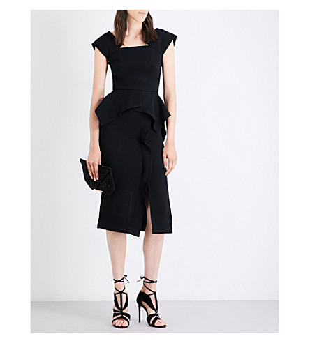 ROLAND MOURET Sawleigh wool-crepe dress (Black