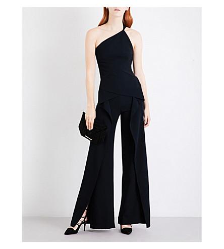 ROLAND MOURET Asymmetric stretch-crepe jumpsuit (Black