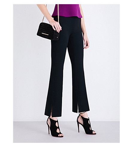 ROLAND MOURET Goswell high-rise flared crepe trousers (Black