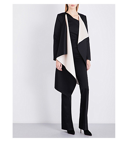 ROLAND MOURET Studham waterfall satin coat (Black/blush