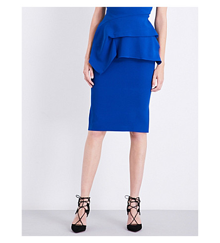 ROLAND MOURET Arreton crepe pencil skirt (Royal+blue