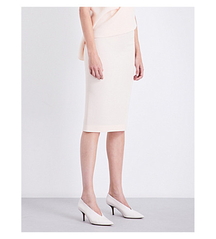 ROLAND MOURET Arreton wool-crepe pencil skirt (Blush