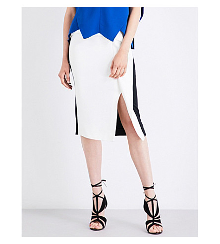 ROLAND MOURET Sidley stretch-crepe skirt (Black/white