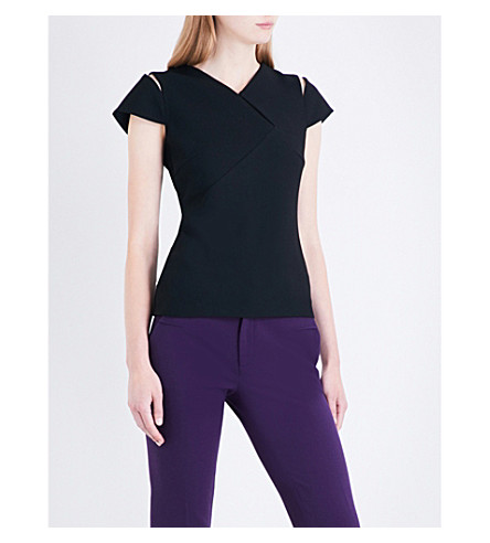 ROLAND MOURET Padbury cutout stretch-crepe top (Black
