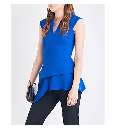 ROLAND MOURET Bierton stretch-crepe top (Royal+blue
