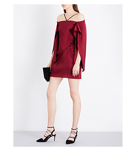 ROLAND MOURET Off-the-shoulder crepe mini dress (Claret