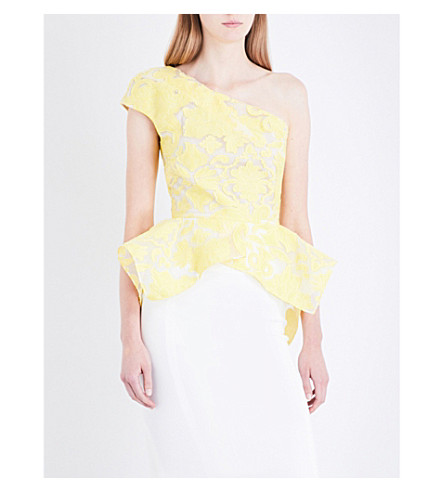 ROLAND MOURET Rodmell asymmetric brocade top (Canary+yellow/white