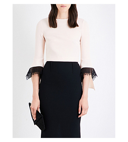 ROLAND MOURET Liverton lace-trim wool-crepe top (Blush/black