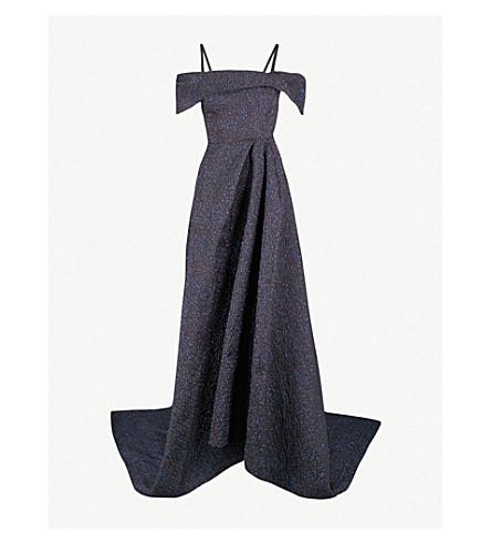 ROLAND MOURET Harswell off-the-shoulder metallic jacquard gown (Navy metallic