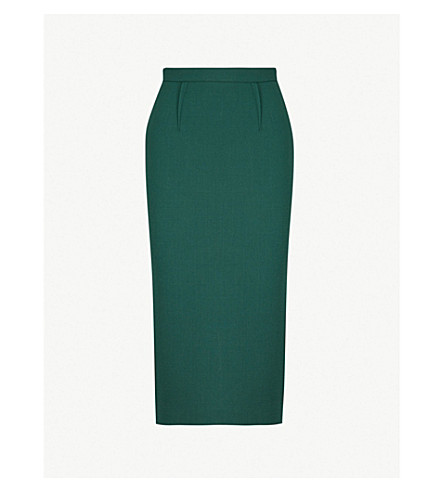 ROLAND MOURET Arreton wool skirt (Hunter green