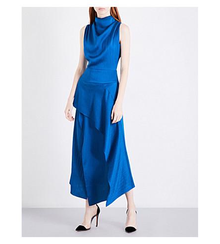 ROLAND MOURET Allerston silk-crepe dress (Pacific+blue