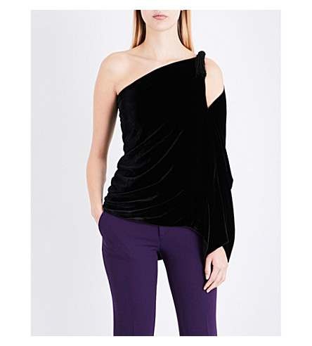 ROLAND MOURET Chiltern asymmetric velvet top (Black