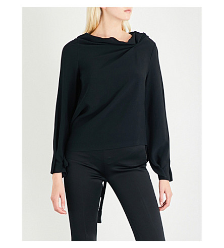 ROLAND MOURET Leyton draped crepe top (Black
