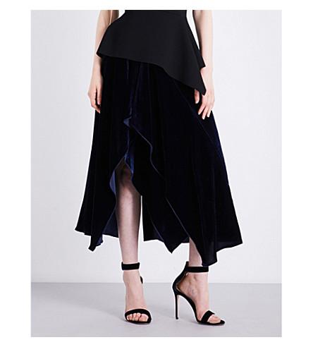 ROLAND MOURET Haxby asymmetric velvet skirt (Navy