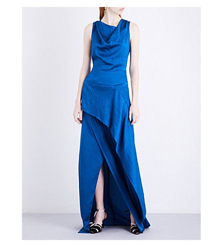 ROLAND MOURET Alfred hammered-silk gown (Pacific+blue