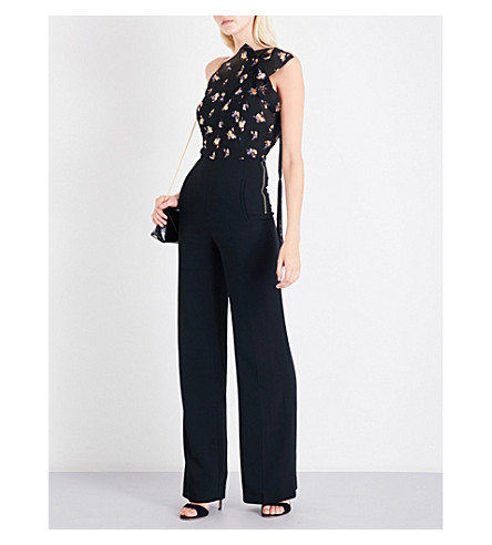 ROLAND MOURET Colbern fil coupe and crepe jumpsuit (Black+multi